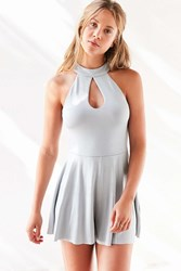Silence And Noise Brandi Keyhole Mock Neck Romper Grey