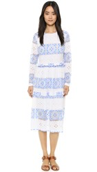 Endless Rose Contrast Lace Midi Dress White Blue