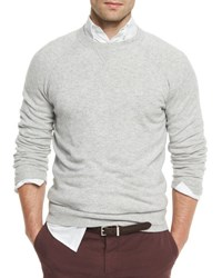 Brunello Cucinelli Athletic Crewneck Sweater Light Gray