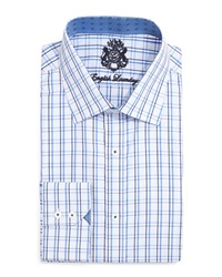 English Laundry Tattersall Check Dress Shirt Blue Navy