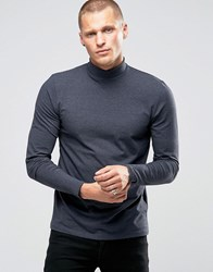 Jack And Jones Premium Long Sleeve High Neck In Jersey Navy Blazer