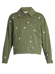 Stella Mccartney Floral Embroidered Utility Jacket Khaki
