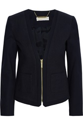 Michael Michael Kors Boucle Paneled Cotton Jacket Blue
