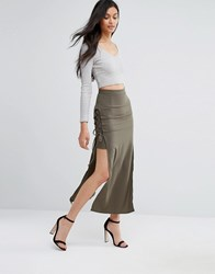 Love Lace Up Maxi Skirt Khaki Green