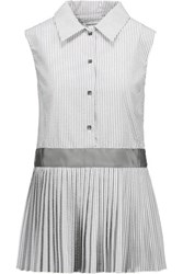 Thom Browne Seersucker Cotton Peplum Blouse Gray