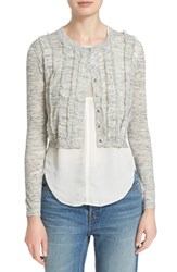 Women's Rebecca Taylor Clip Fringe Trim Crop Cardigan