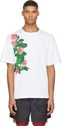 Msgm White Rose Print Toilet Paper Edition T Shirt