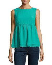 Red Valentino Sleeveless Scalloped Crepe Blouse Pavone