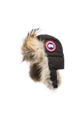 Canada Goose Aviator Hat With Coyote Fur Trim Black