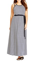 Plus Size Women's City Chic 'Holiday Stripe' Contrast Trim Maxi Dress