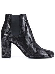 Saint Laurent Camouflage Ankle Boots Black