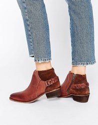 Hudson London Brown Leather Traid Ankle Boot Chocolate