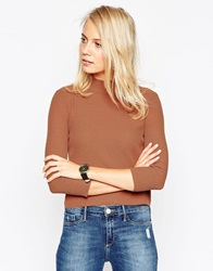 Asos Baby Rib Jumper With Turtle Neck In Structured Knit Tobacco