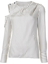 Monse Striped Cold Shoulder Blouse White