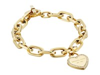 Michael Kors Heritage Heart Charm Toggle Gold Clear Charms Bracelet