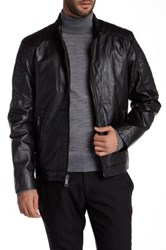 Andrew Marc New York Sanderson Motorcross Quilted Shoulder Leather Jacket No Color
