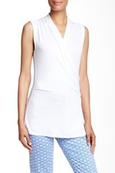 Laundry By Shelli Segal Sleeveless Surplice Blouse White