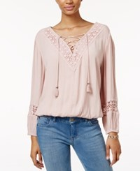 American Rag Crocheted Lace Up Peasant Top Only At Macy's Light Pink