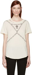 Alexander Mcqueen Beige Skull And Chain T Shirt