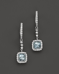 Bloomingdale's Aquamarine And Diamond Drop Earrings In 14K White Gold Blue White