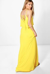 Boohoo Tie Back Maxi Dress Yellow