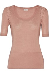 Temperley London Grace Lace Trimmed Stretch Wool Silk And Cashmere Blend Top Pink