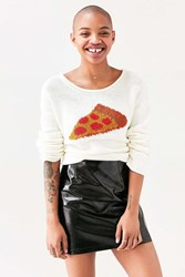 Bdg Pizza Pullover Sweater Neutral Multi