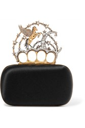 Alexander Mcqueen Pegasus Embellished Satin Box Clutch Black