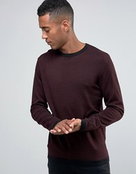 Jack And Jones Knitted Crew In Mixed Yarn Burgundy Red
