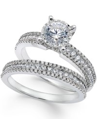 Trumiracle Pave Bridal Set 1 1 2 Ct. T.W. In 14K White Gold No Color
