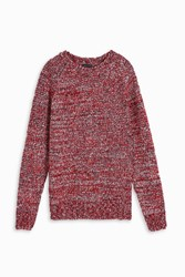 Gray Special Weave Roll Neck Jumper Red
