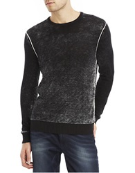 Kenneth Cole Acid Wash Crew Pullover Black