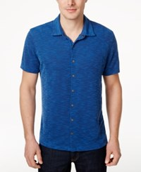 Alfani Men's Slub Pique Short Sleeve Shirt Only At Macy's Neo Navy Combo