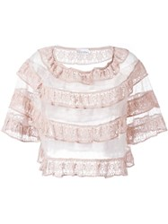 Red Valentino Ruffled Lace Top Pink And Purple