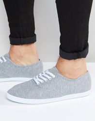Asos Oxford Plimsolls In Grey Marl Grey
