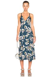 Marni Printed Tiered Tank Dress In Green Blue Floral