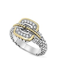 Lagos Sterling Silver And 18K Gold Caviar Band Ring With Diamonds