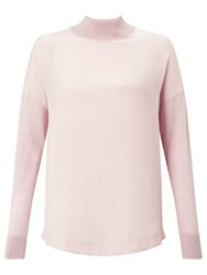 Jigsaw Silk Fronted Sweater Pink