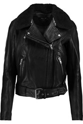 Muubaa Chambra Shearling Trimmed Leather Biker Jacket Black