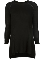 Tess Giberson Open Stitch Detail Ribbed Sweater Black