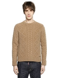 Dsquared Wool Blend Cable Knit Sweater Beige