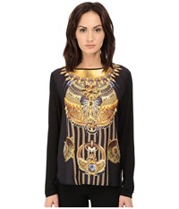 Versace Long Sleeve Printed Boat Neck Shirt Nero Women's T Shirt Black