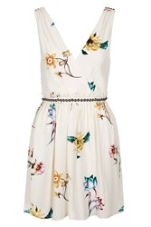 Topshop Floral Wrap Front Sun Dress Cream