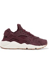Nike Air Huarache Run Embossed Leather And Mesh Sneakers Burgundy