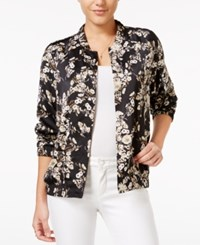Guess Printed Satin Bomber Jacket Luxe Gardens Jet Black