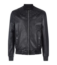 Versace Collection Applique Leather Bomber Jacket Male Black
