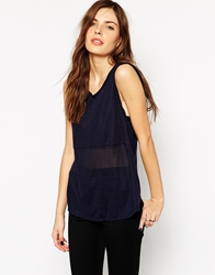 Twenty Cashmere Mix Muscle Tank With Wrap Back Detail Midnight