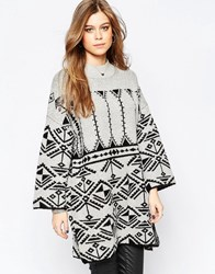 Vila Lilas Patterned Knit Sweater Lgm With Blk
