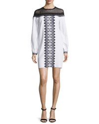 Andrew Gn Long Sleeve Bicolor Lace Trim Dress White Black White Black