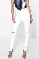 Boohoo High Waisted Knee Rip Jeans White